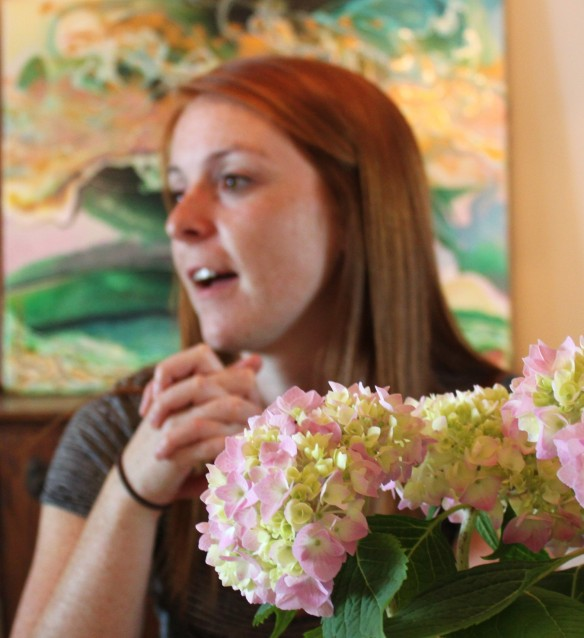 Cassie and hydrangeas Sunday lunch